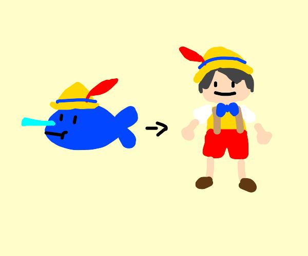 pinocchio fish evolves into pinocchio man