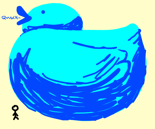 Huge blue duck
