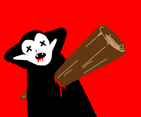vampire stabbed by stake (not the meat)