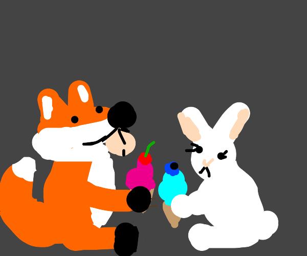bunny and fox r eating ice cream