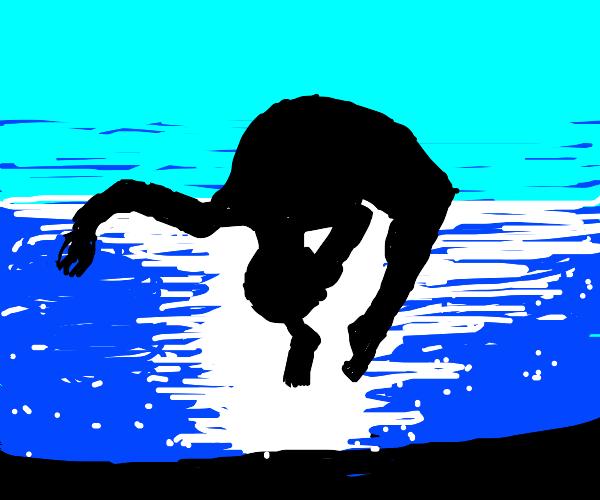 Backflip into the sea