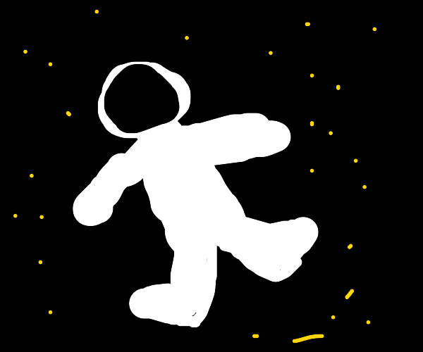 Fainted astronaut floating in the outer space