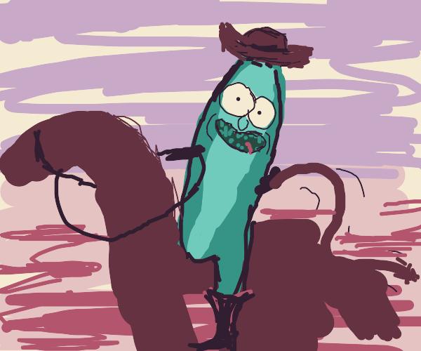 pickle rick as a cowboy