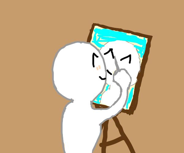 Boy blushing while drawing himself