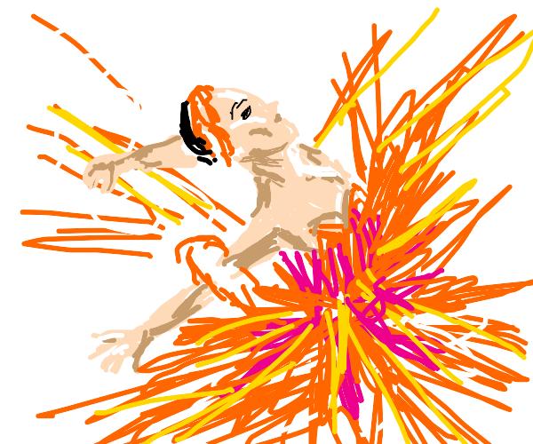 Ballerina in an orange tutu