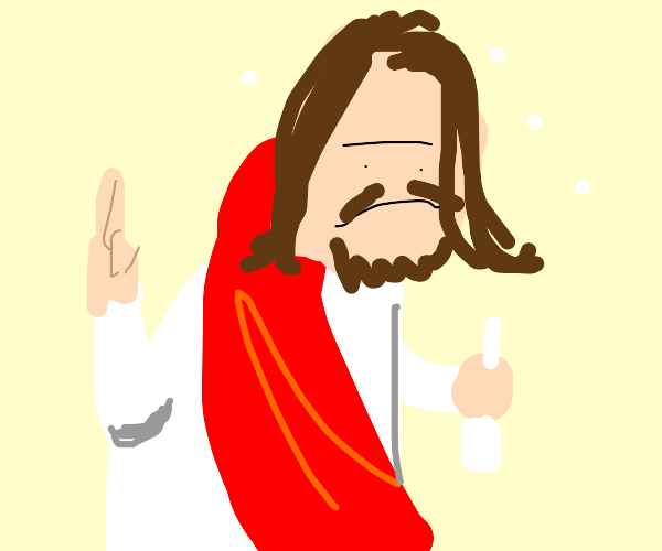 Jesus downs a whole bottle of vodka