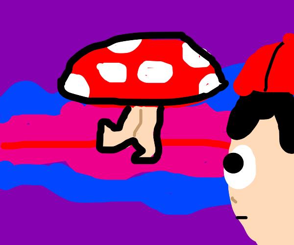 man spots mushroom