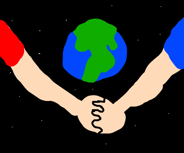 Holding hands around Earth