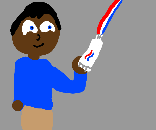 person with a toothpaste beam