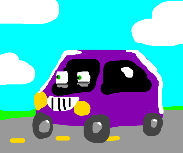 A Tired but Happy Car drives down the street