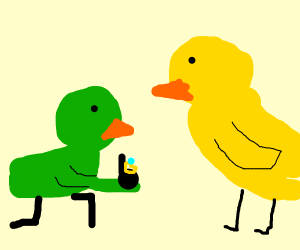 Green chicken proposes to other chicken
