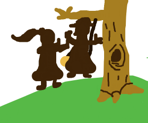 Two girls on a tree swing