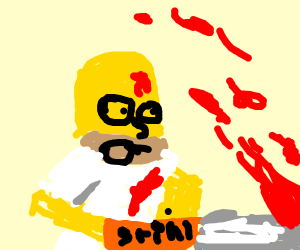 Homer Simpson vs a chainsaw