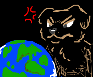 Angry giant dog looks at Earth