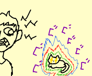Man scared of screaming fluroescent cat