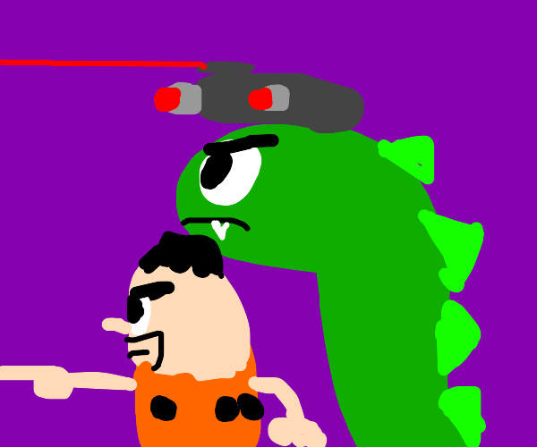 Fred flintsone with his weaponised dinosaur
