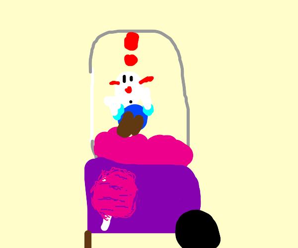 Clown gets stuck in the cotton candy machine