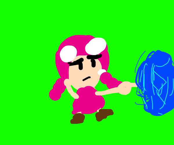 Toadette pointing to some blue mist