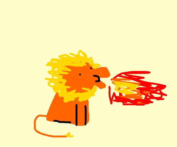 Lion breathing fire