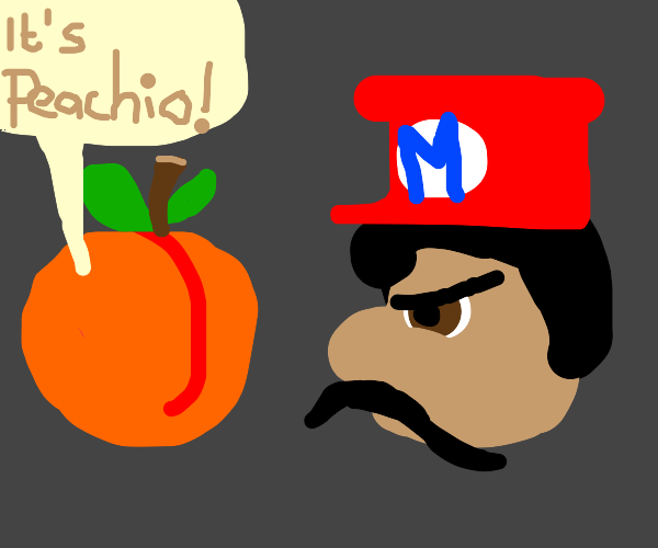 peach saying it's peachio and mario is angry