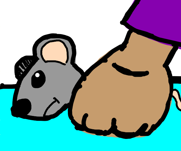 Guy drowning a mouse