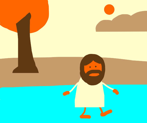 Orange Christ walking on water