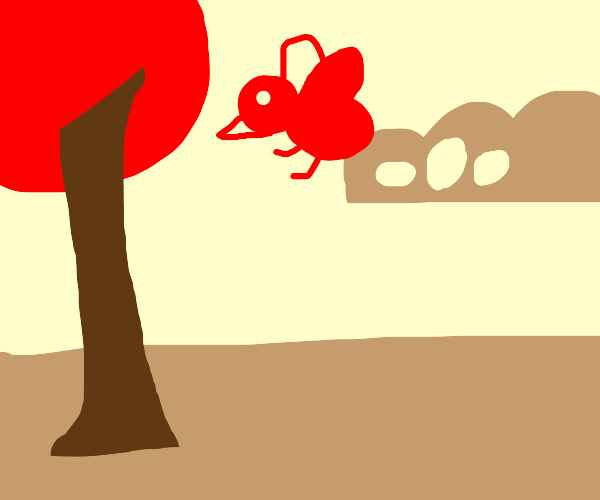 A red bird flying and laying eggs in the air