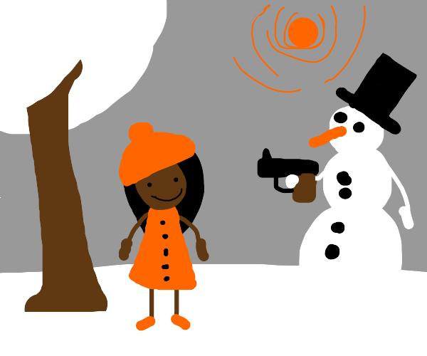 snowman points gun to woman who smiles
