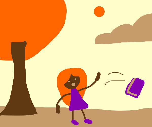 Red haired person throwing purple book