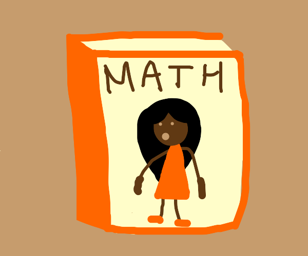 Drawing of a girl on a math book