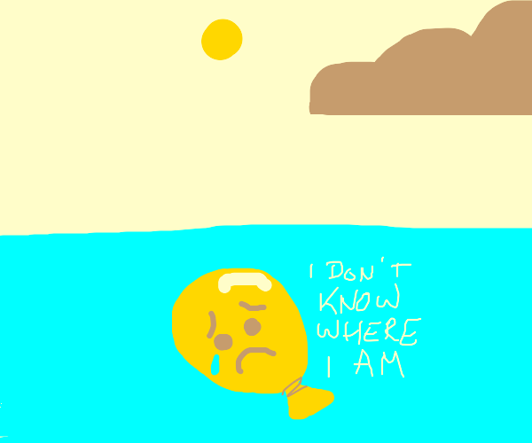 a sad balloon lost at sea