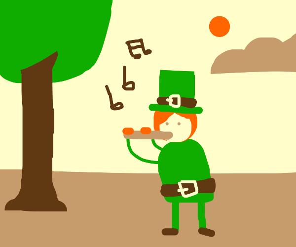 an irish man playing the flute