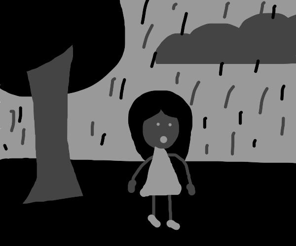 gloomy rainy scene in black-and-white