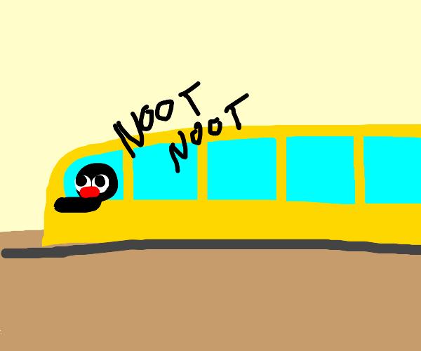 penguin operates a train