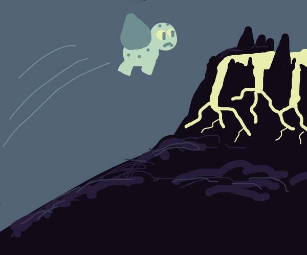 Bulbasaur being yeeted into a volcano