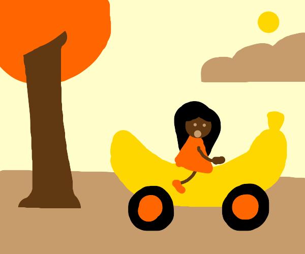 woman rides banana