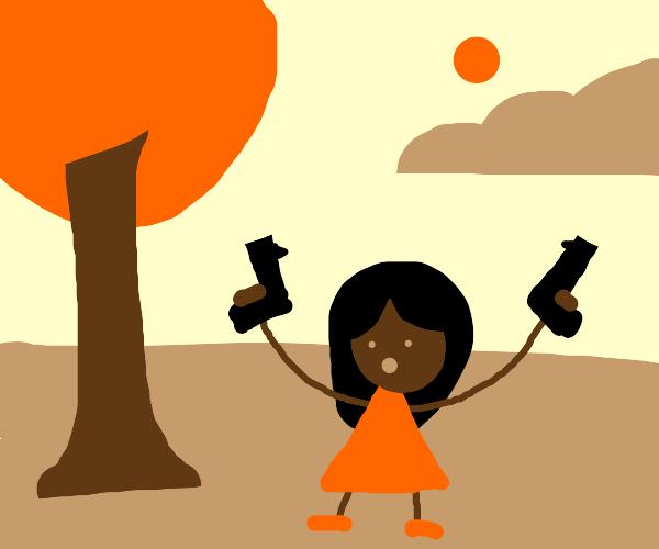Woman holding two guns