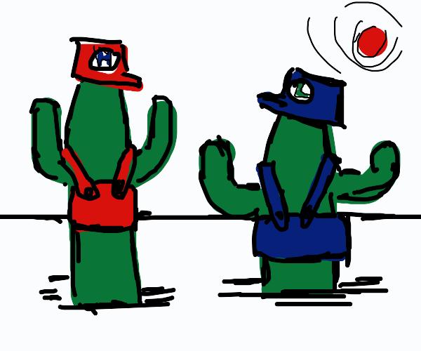 Cactus Mario and Luigi