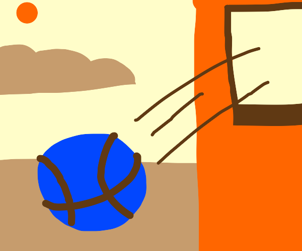 Blue Basketball thrown out of the window
