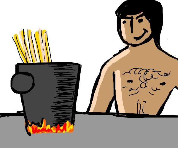 Naked man cooks spaghetti