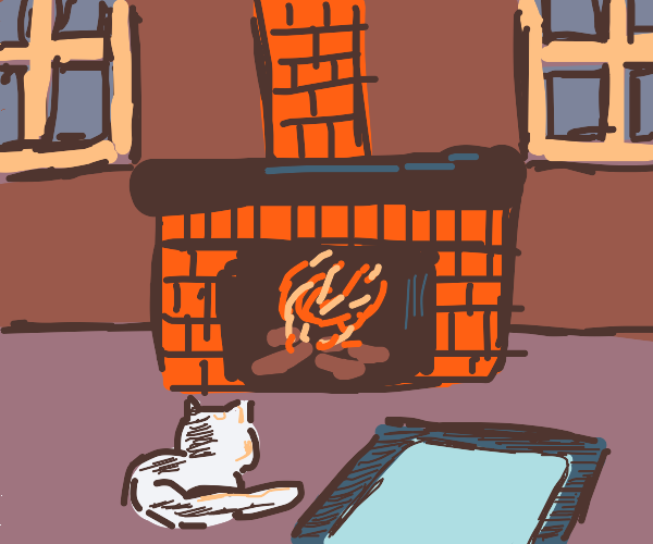 Curled up by the fireplace