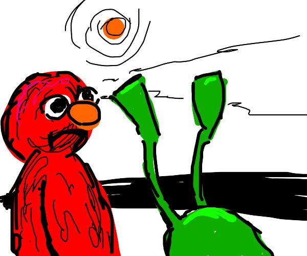 Elmo kicks Kermit into a ditch