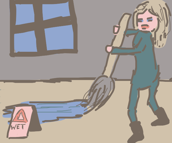 cleaning wet floor