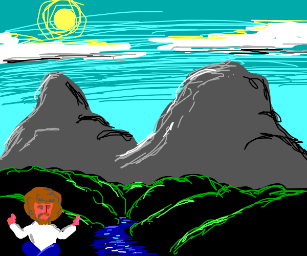 Bob Ross does yoga in front of mountains