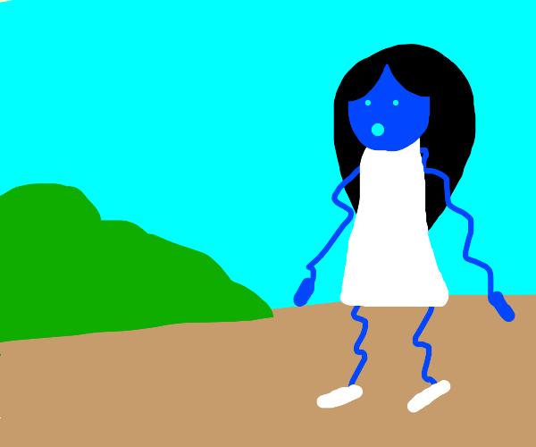 White dress on a wiggly blue lady