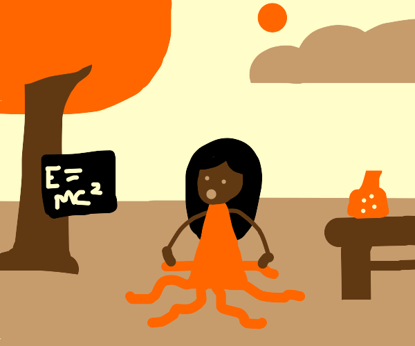 half scientist girl half squid
