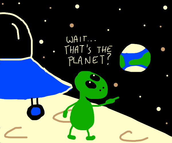 An alien landing on the moon