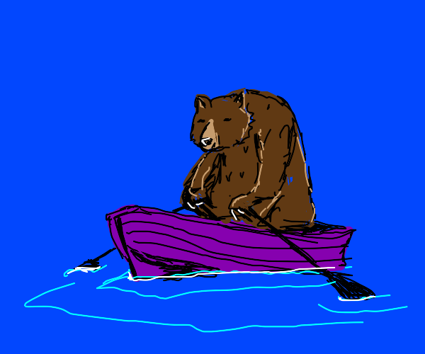 Bear in purple boat