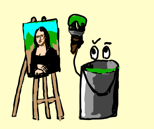 Paint bucket painting mona lisa