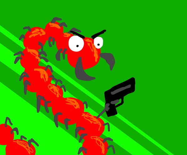 Centipede shooting a gun